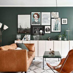 Сочетание зеленых и коричневых оттенков в интерьере