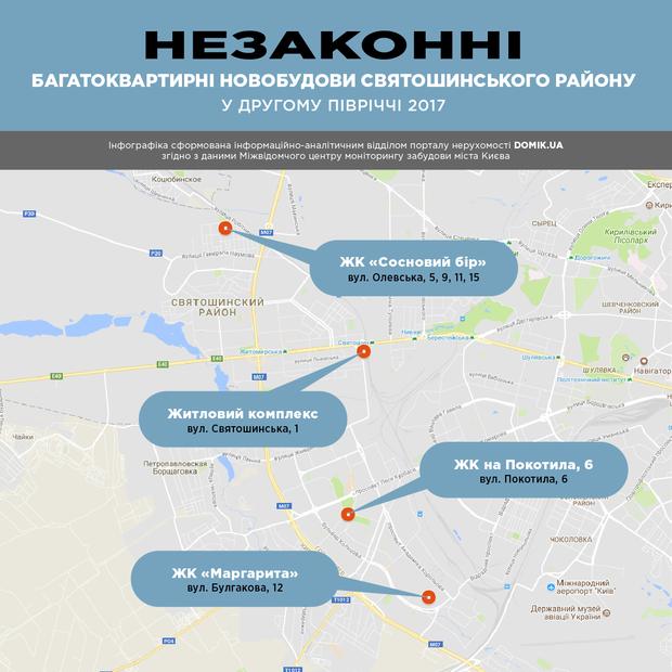 Незаконні багатоквартирні новобудови Святошинського району в другому півріччі 2017 року